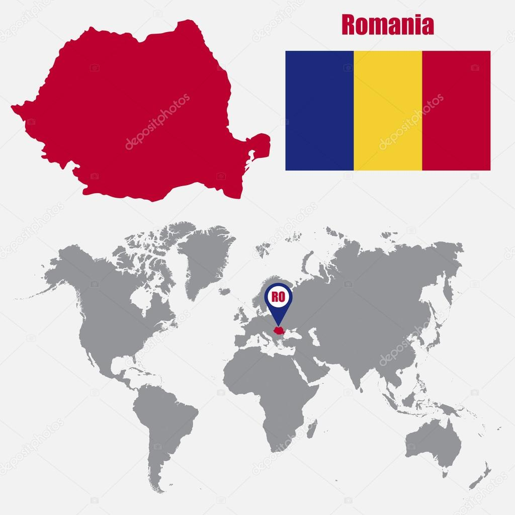 Romania Map On A World Map With Flag And Map Pointer Vector