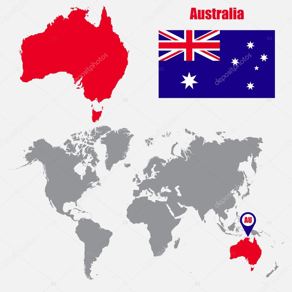 Australia map on a world map with flag and map pointer. Vector ... on