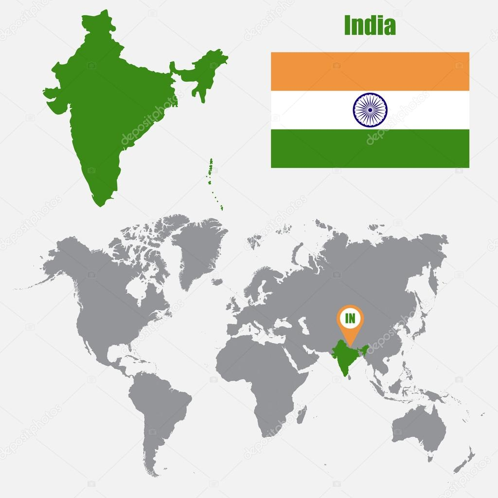 India map on a world map with flag and map pointer vector india map on a world map with flag and map pointer vector illustration vector gumiabroncs Images