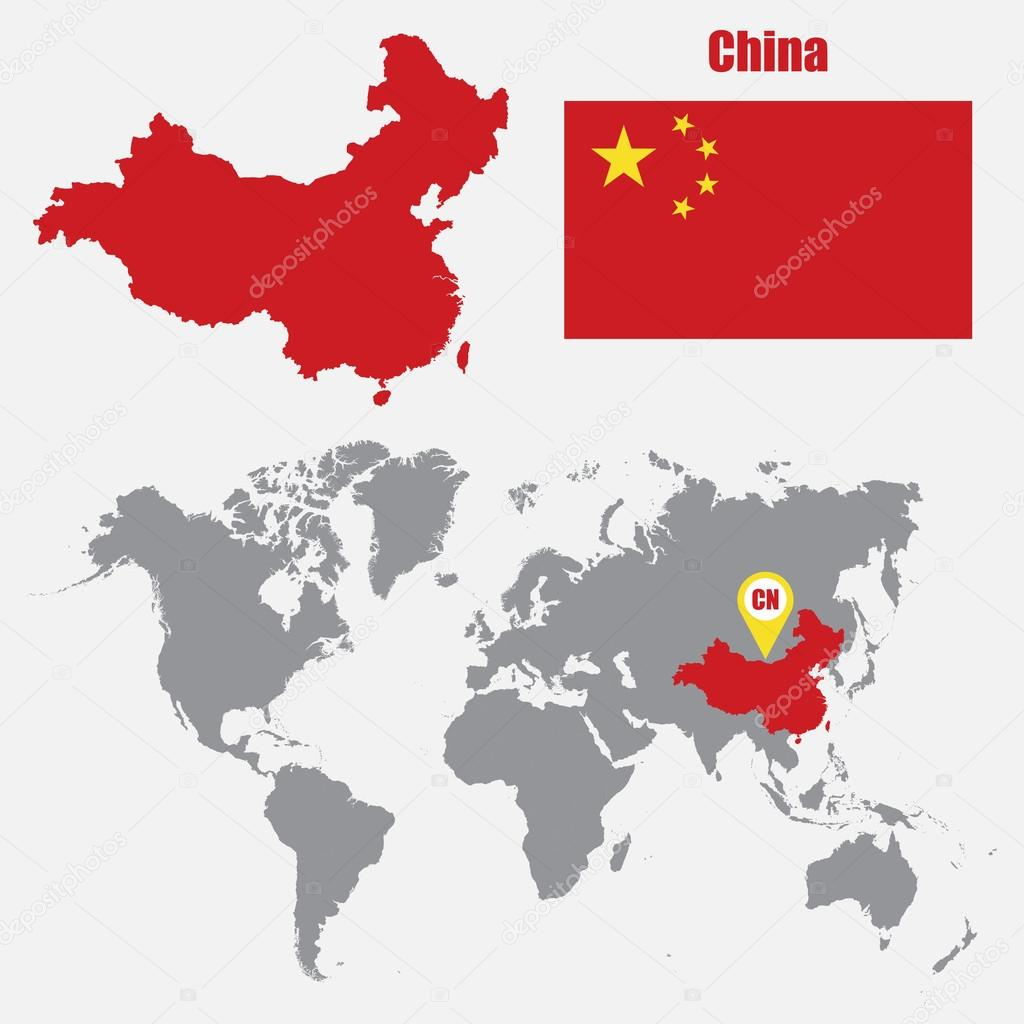 China Map On A World Map With Flag And Map Pointer Vector
