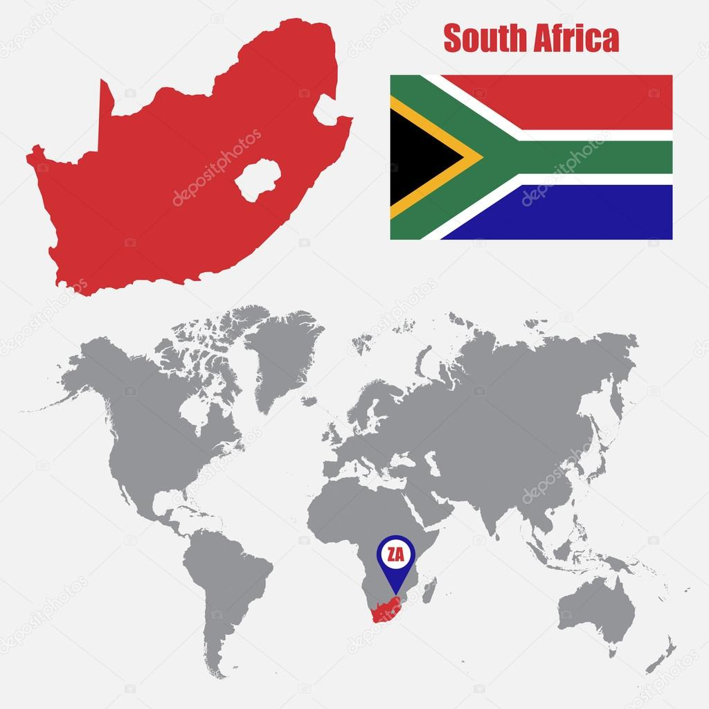 South africa map on a world map with flag and map pointer vector south africa map on a world map with flag and map pointer vector illustration gumiabroncs Images