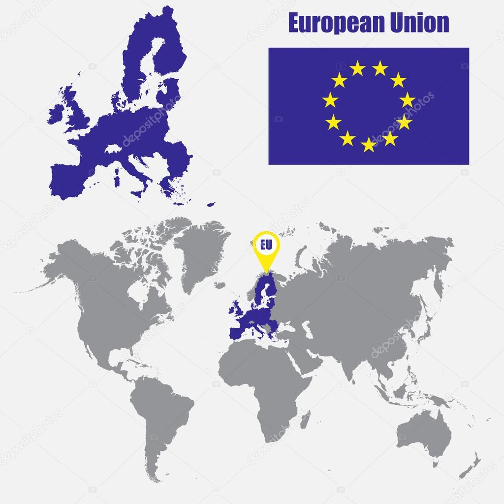 European Union map on a world map with flag and map pointer. Vector ...