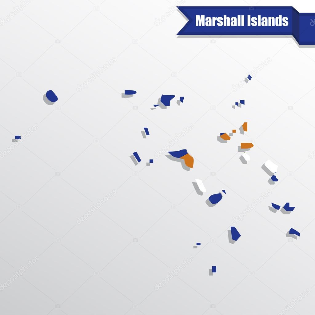 Marshall Islands map with flag inside and ribbon — Stock ...