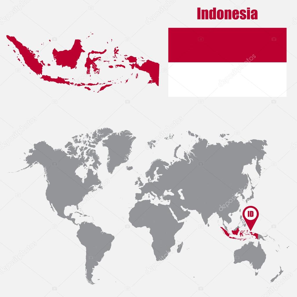 Indonesia map on a world map with flag and map pointer. Vector ...