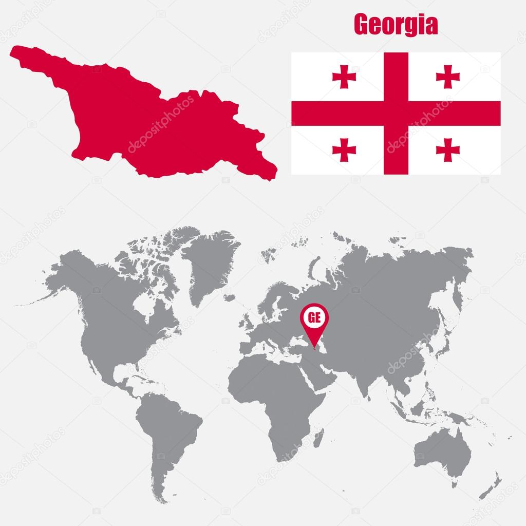 Georgia Map Of World.Georgia Map On A World Map With Flag And Map Pointer Vector
