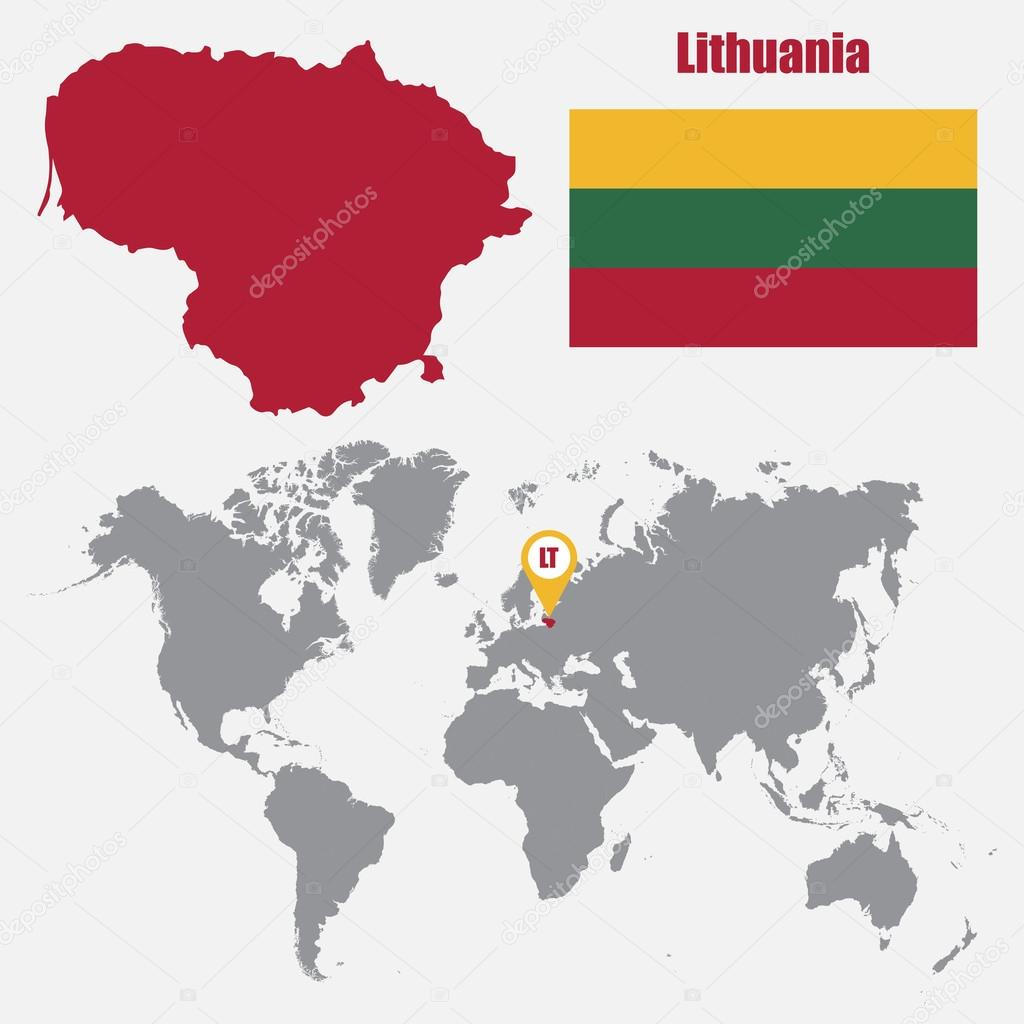 Lithuania map on a world map with flag and map pointer vector lithuania map on a world map with flag and map pointer vector illustration stock gumiabroncs Gallery