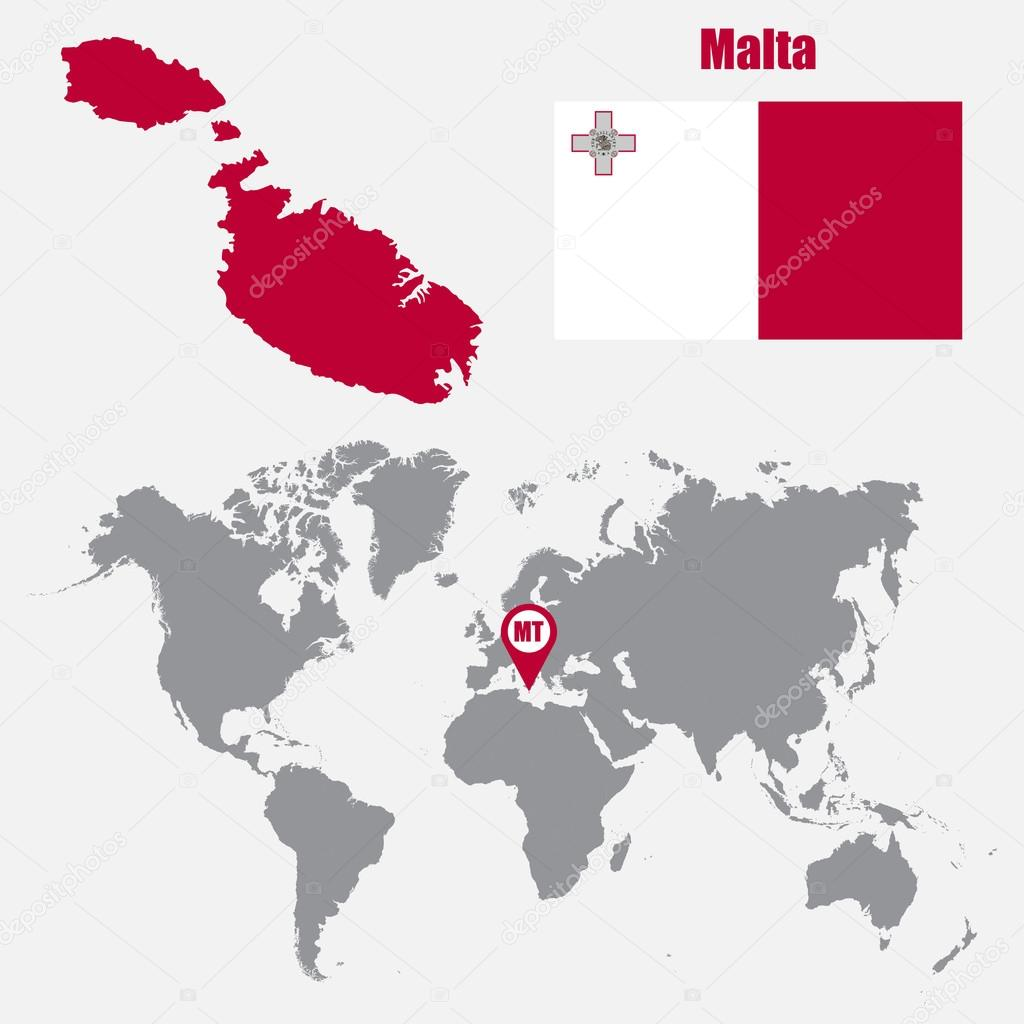 Malta map on a world map with flag and map pointer. Vector ...