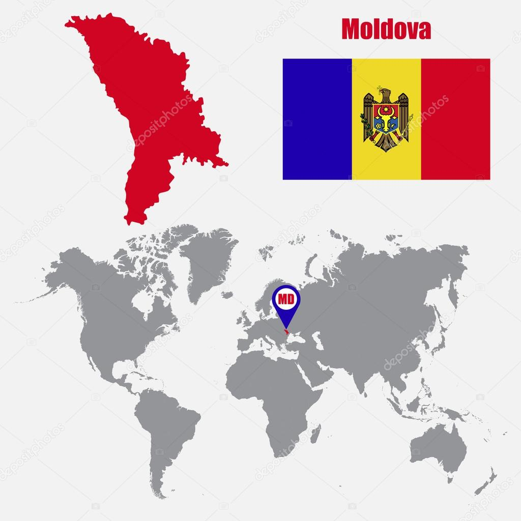 Moldova Map On A World Map With Flag And Map Pointer Vector - Moldova map vector