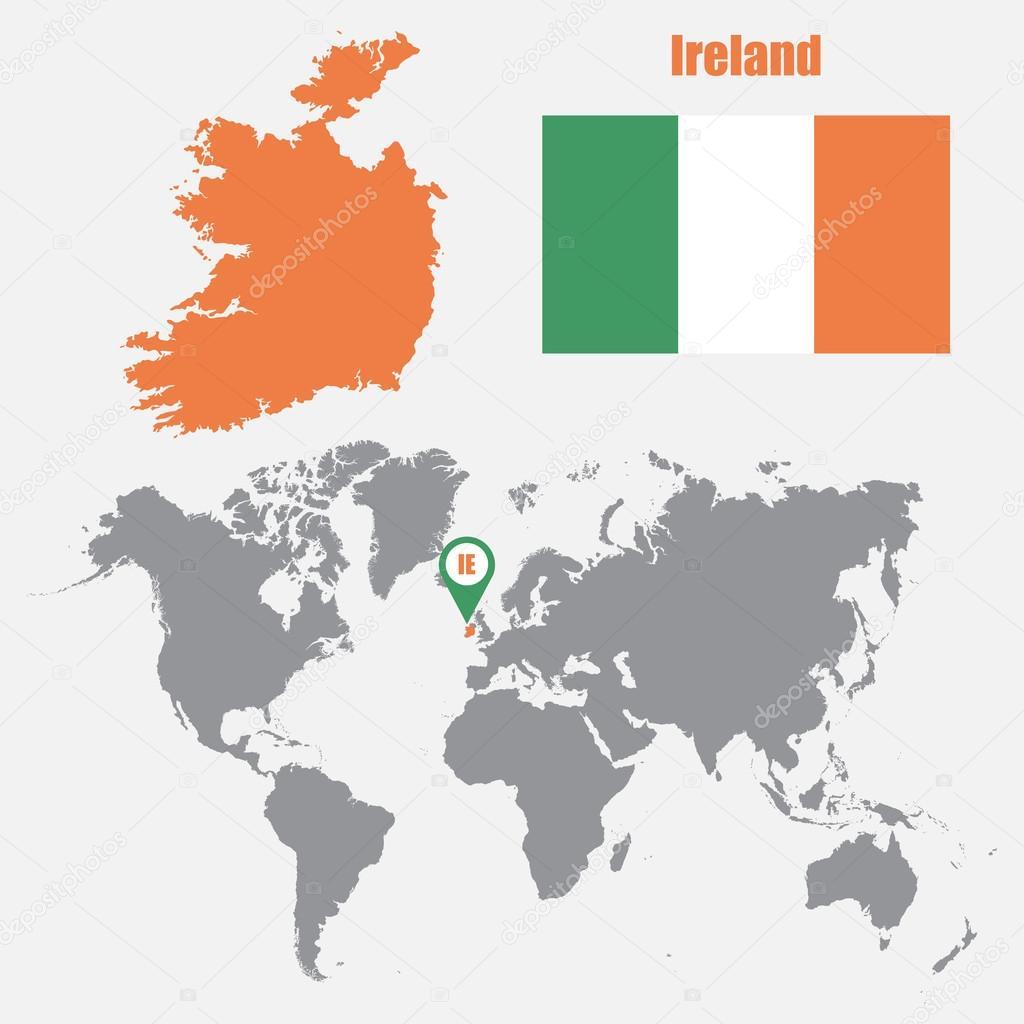 irlanda mapa Irlanda mapa en un mapa del mundo con la bandera y mapa de puntero  irlanda mapa