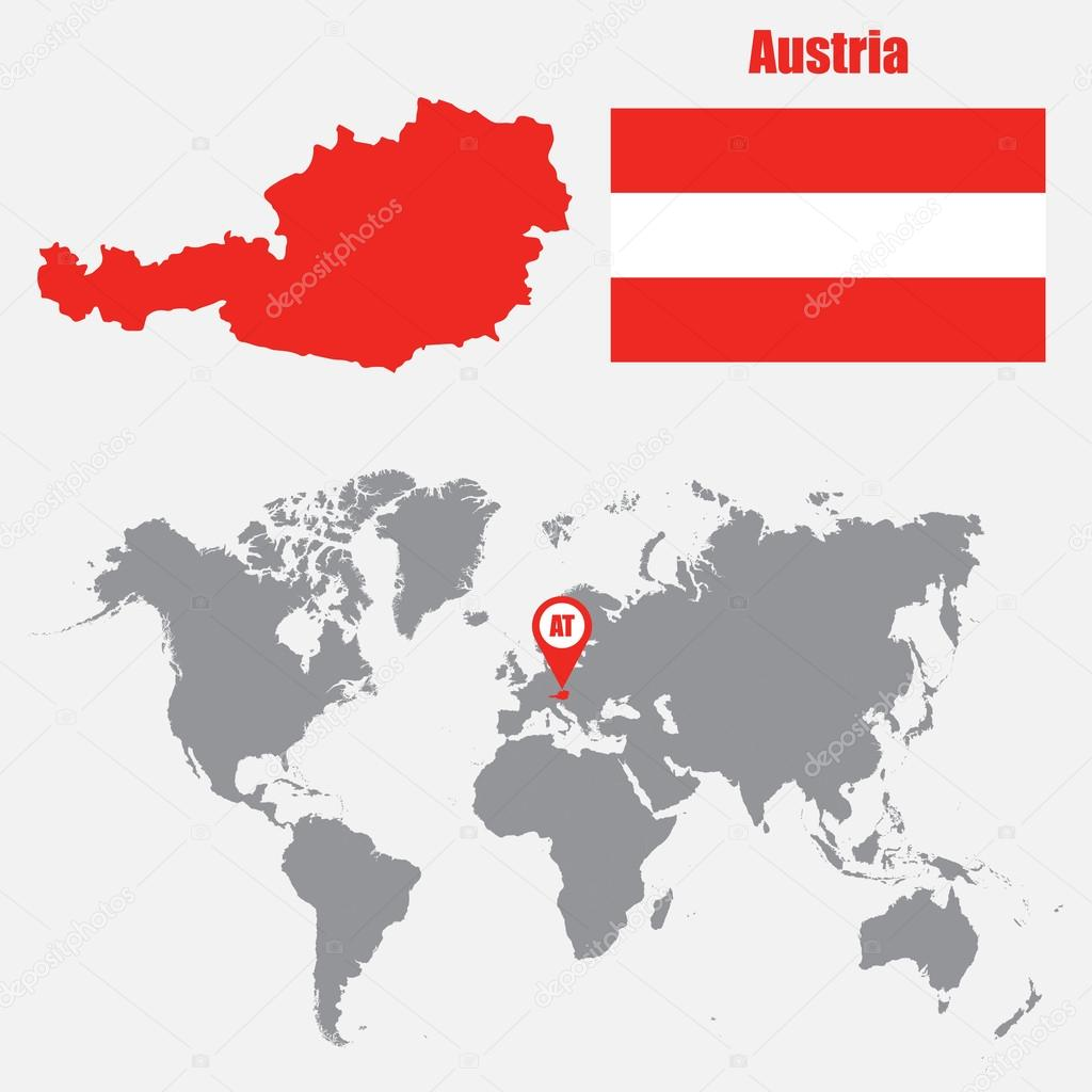 Austria mapa en un mapa del mundo con la bandera y mapa de puntero austria mapa en un mapa del mundo con la bandera y mapa de puntero ilustracin gumiabroncs Choice Image