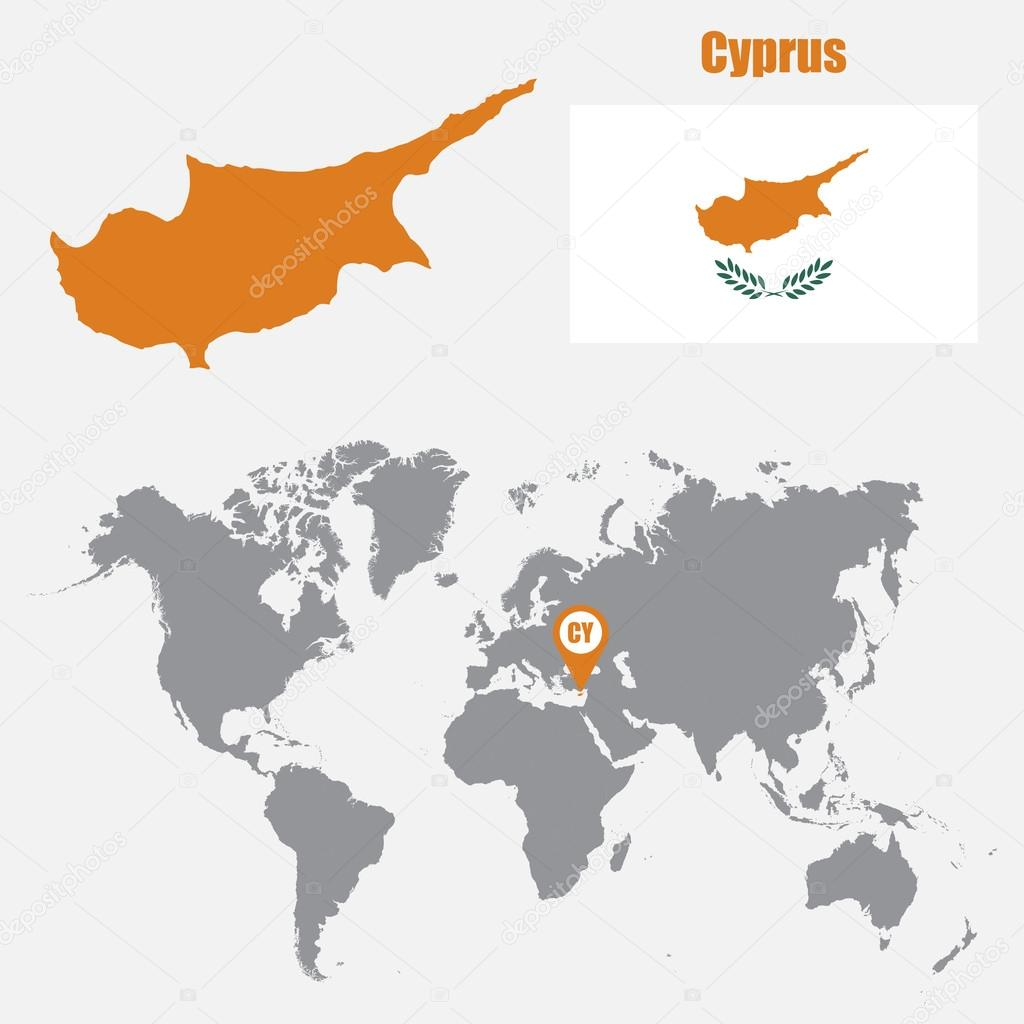 Cyprus map on a world map with flag and map pointer vector cyprus map on a world map with flag and map pointer vector illustration stock gumiabroncs Choice Image
