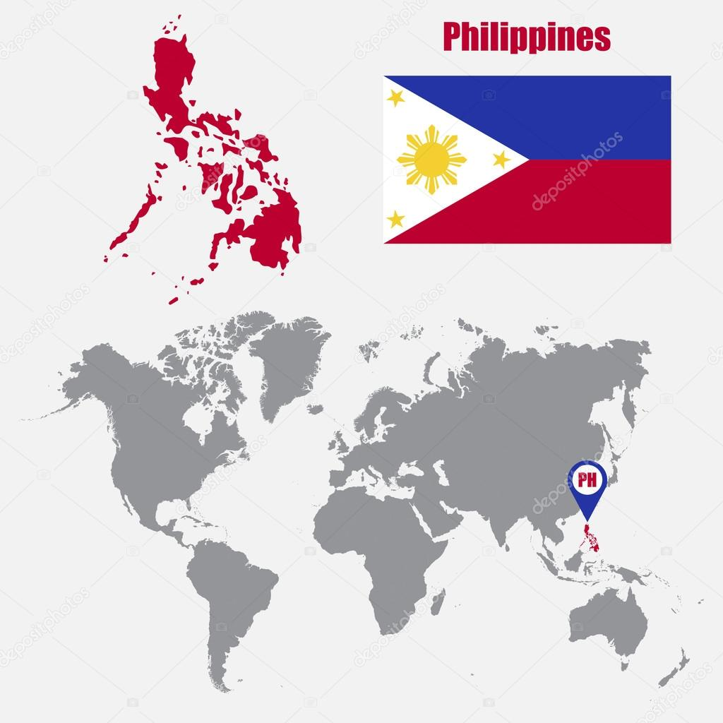 Philippines Map On A World Map With Flag And Map Pointer Vector
