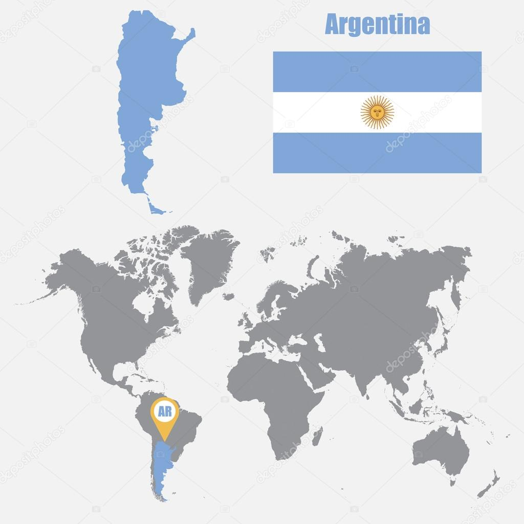 Argentina map on a world map with flag and map pointer vector argentina map on a world map with flag and map pointer vector illustration stock gumiabroncs Gallery