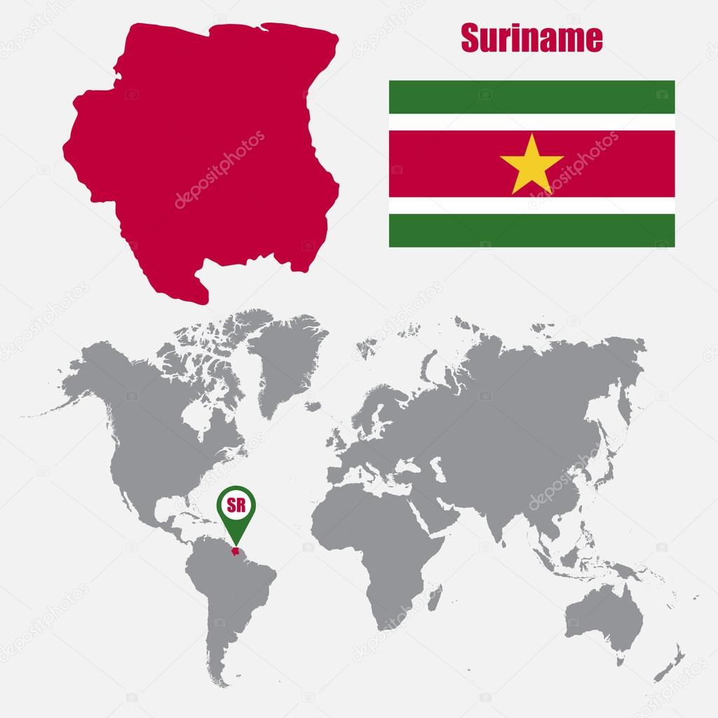 Suriname Map On A World Map With Flag And Map Pointer Vector