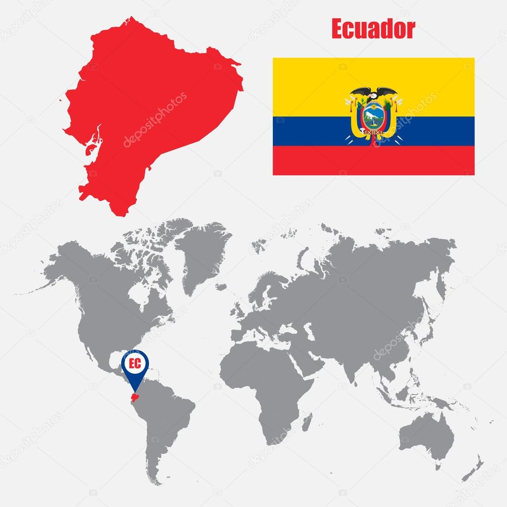 Ecuador map on a world map with flag and map pointer Vector