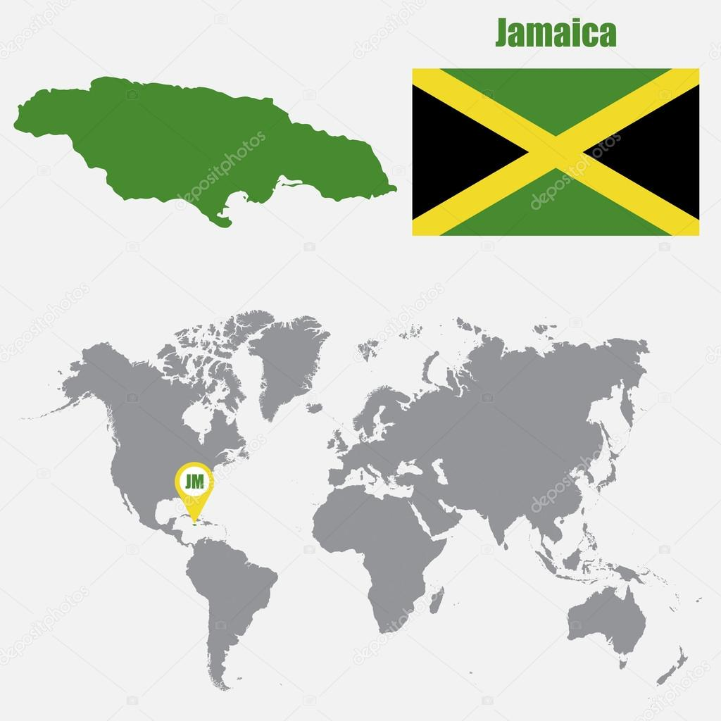 Jamaica map on a world map with flag and map pointer vector jamaica map on a world map with flag and map pointer vector illustration stock gumiabroncs