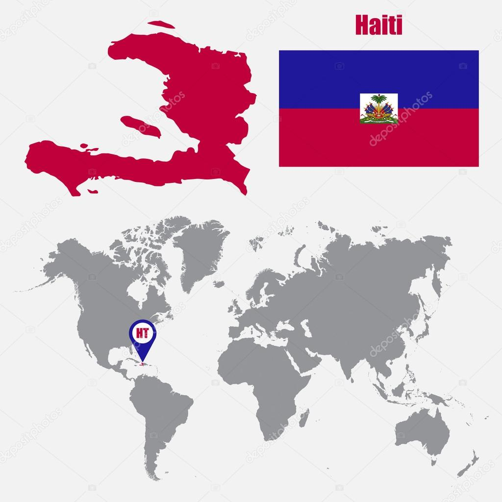 Haiti map on a world map with flag and map pointer vector haiti map on a world map with flag and map pointer vector illustration stock gumiabroncs Images