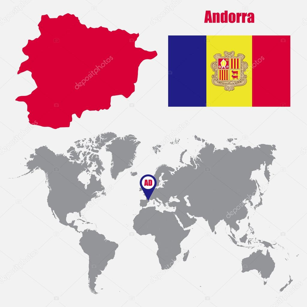 Andorra Map On A World Map With Flag And Map Pointer Vector