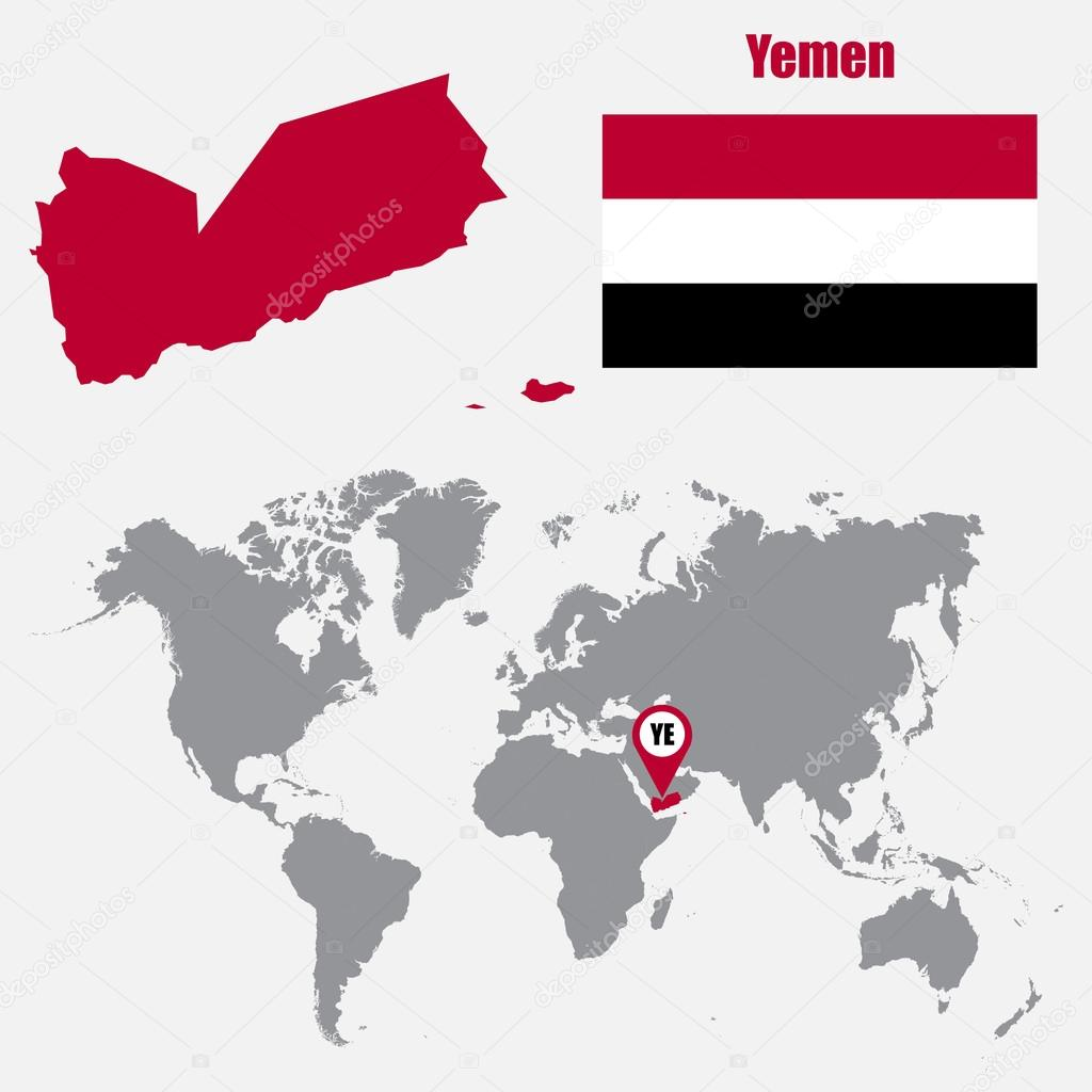 Yemen map on a world map with flag and map pointer vector yemen map on a world map with flag and map pointer vector illustration stock gumiabroncs Images
