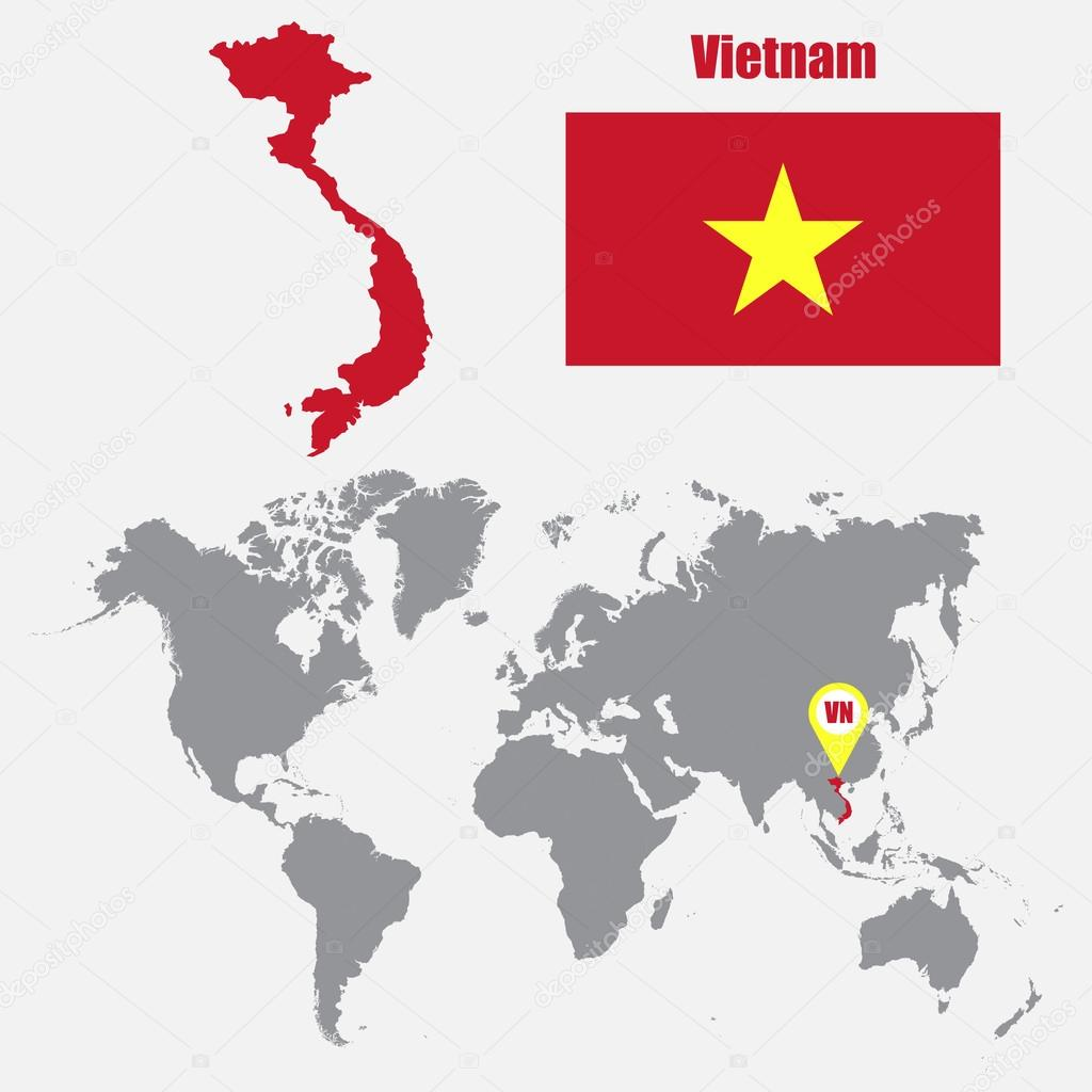 Vietnam Map On A World Map With Flag And Map Pointer Vector