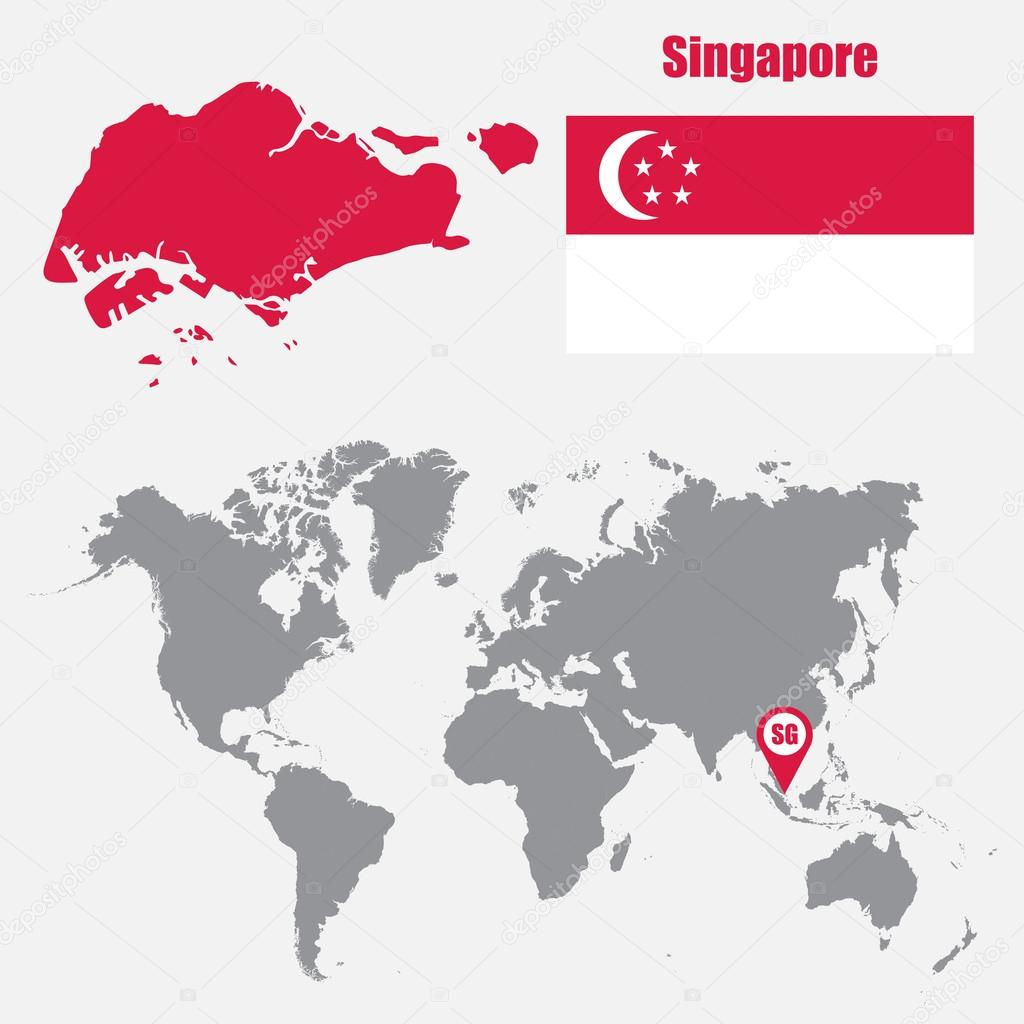 Singapore map on a world map with flag and map pointer. Vector ...