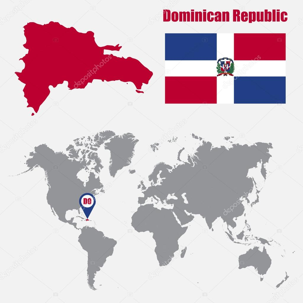 Dominican Republic Map On A World Map With Flag And Map Pointer