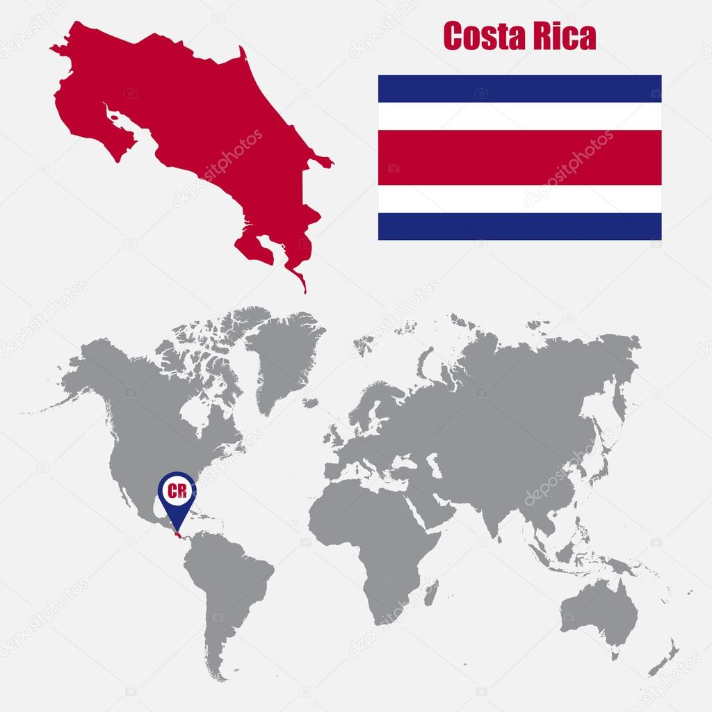 Costa Rica map on a world map with flag and map pointer. Vector ...