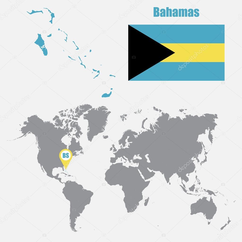 Carte Du Monde Bahamas.Bahamas Carte Sur Une Carte Du Monde Avec Drapeau Et Carte