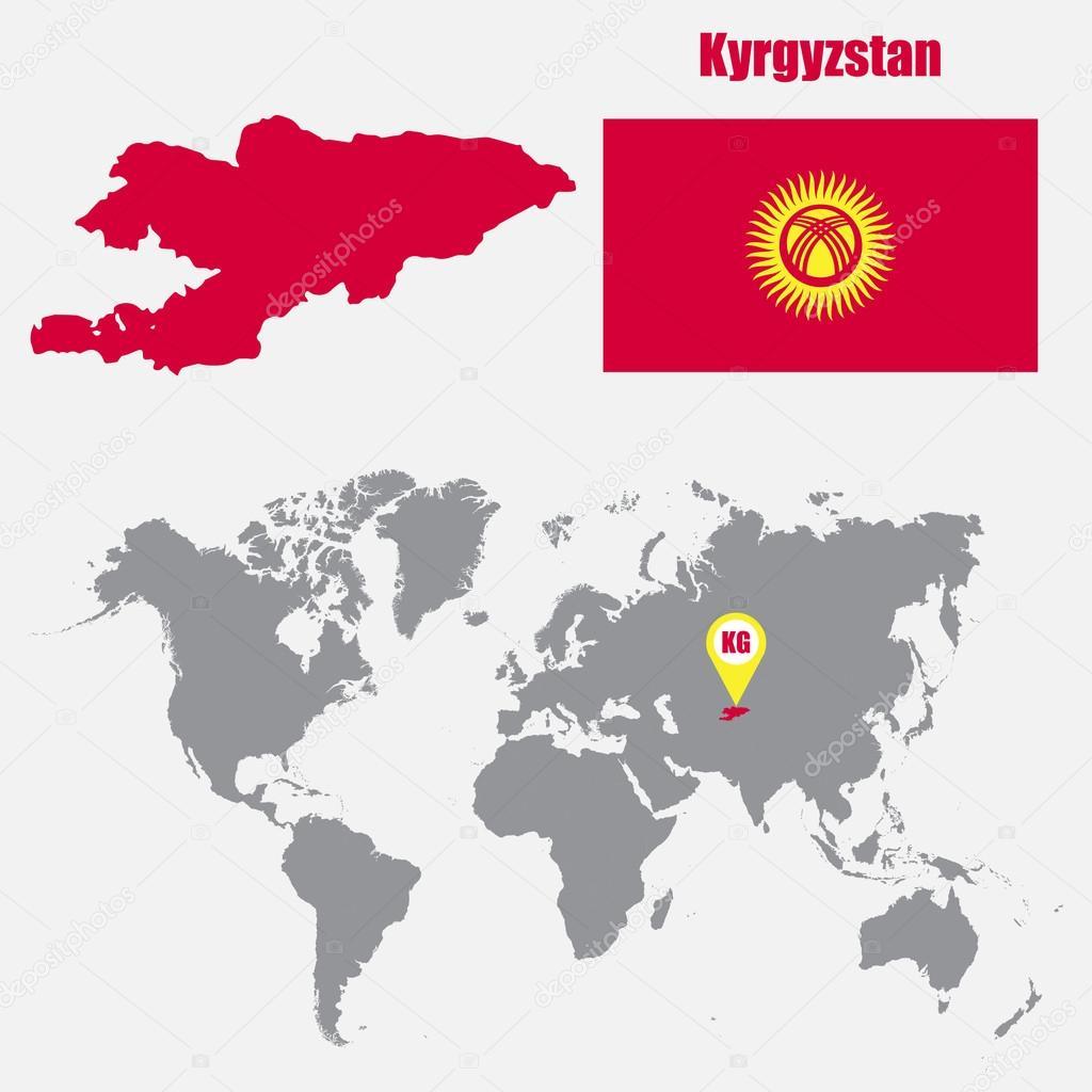 Carte Du Monde Kirghizistan.Kirghizistan Carte Sur Une Carte Du Monde Avec Drapeau Et