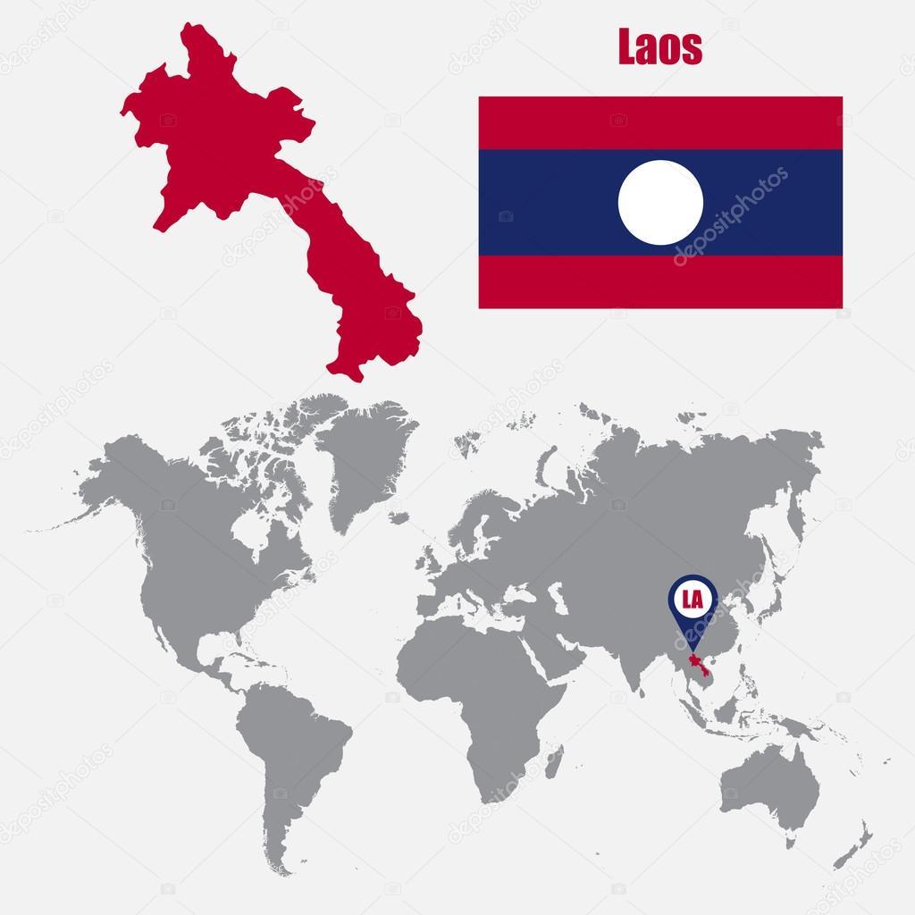 Laos Karte.Laos Karte Auf Einer Weltkarte Mit Flagge Und Zeiger Zuordnen