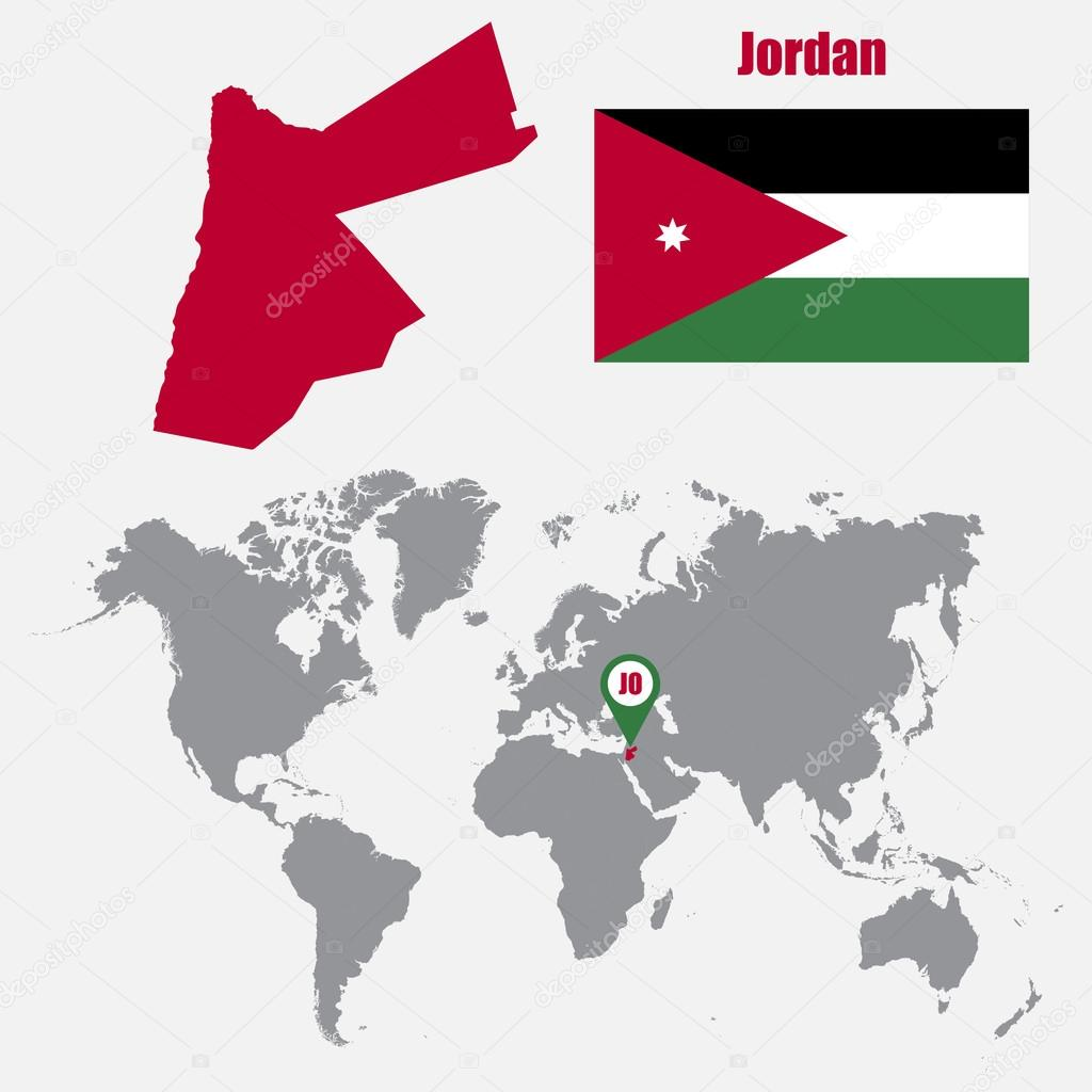 Jordan map on a world map with flag and map pointer vector jordan map on a world map with flag and map pointer vector illustration archivo gumiabroncs Choice Image