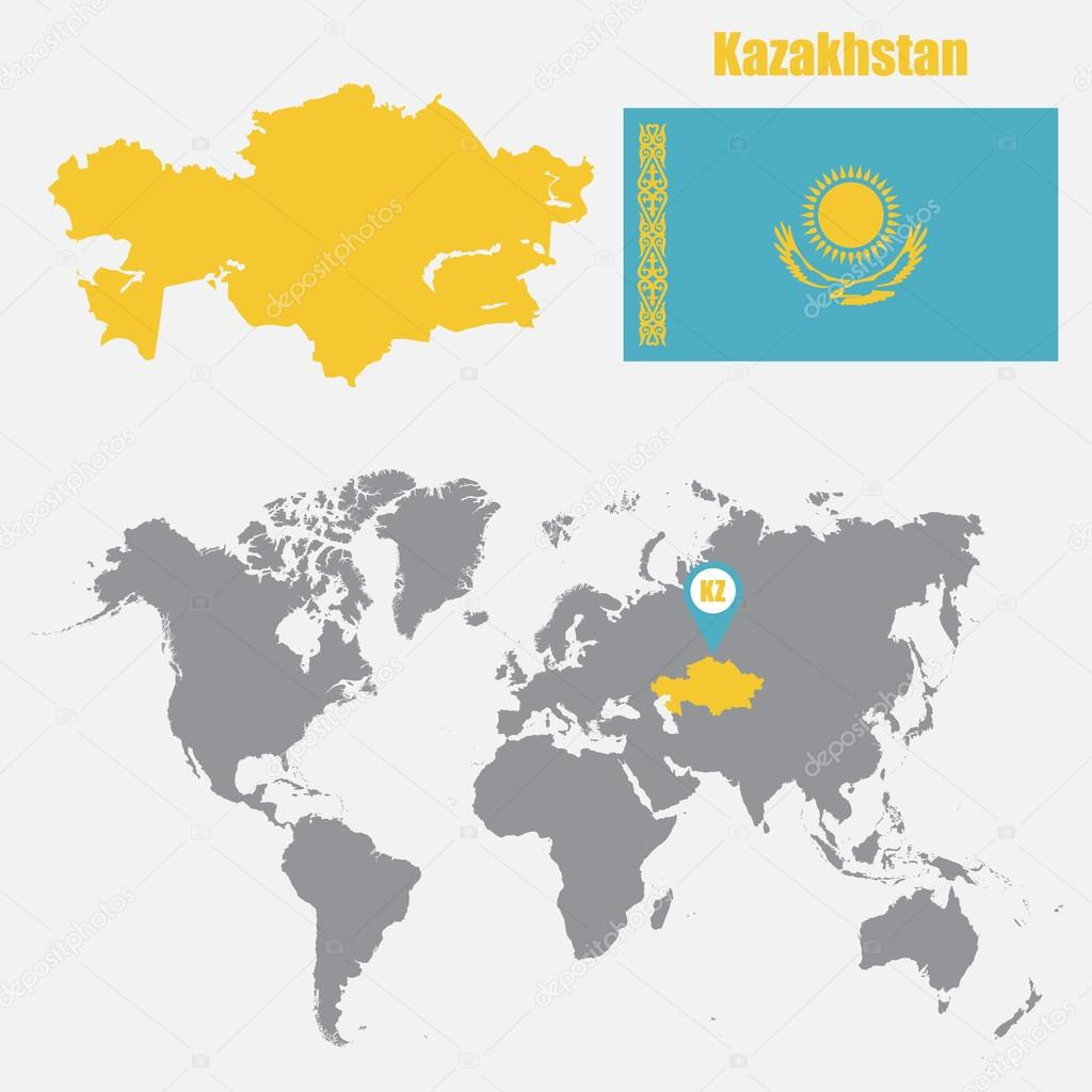 Kazakhstan map on a world map with flag and map pointer vector kazakhstan map on a world map with flag and map pointer vector illustration vector de stas11 gumiabroncs