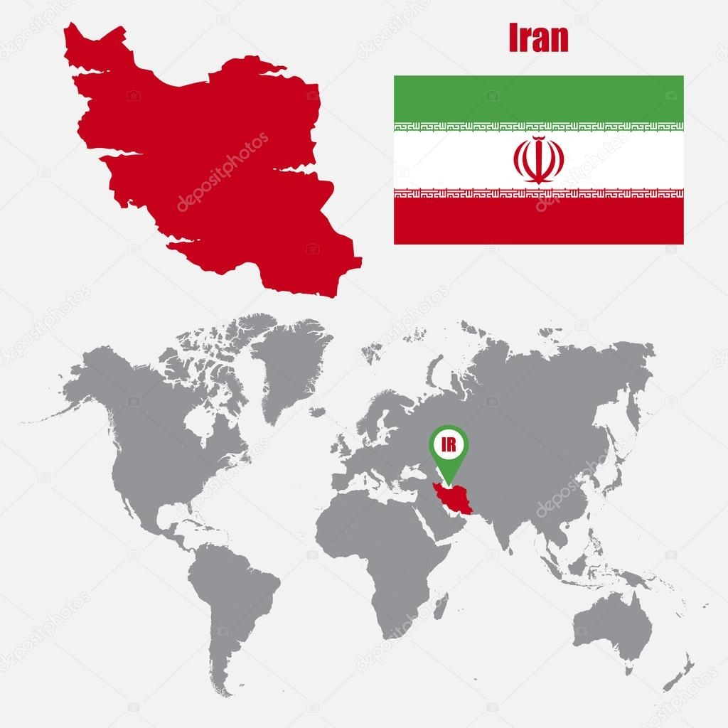 Iran map on a world map with flag and map pointer. Vector ...