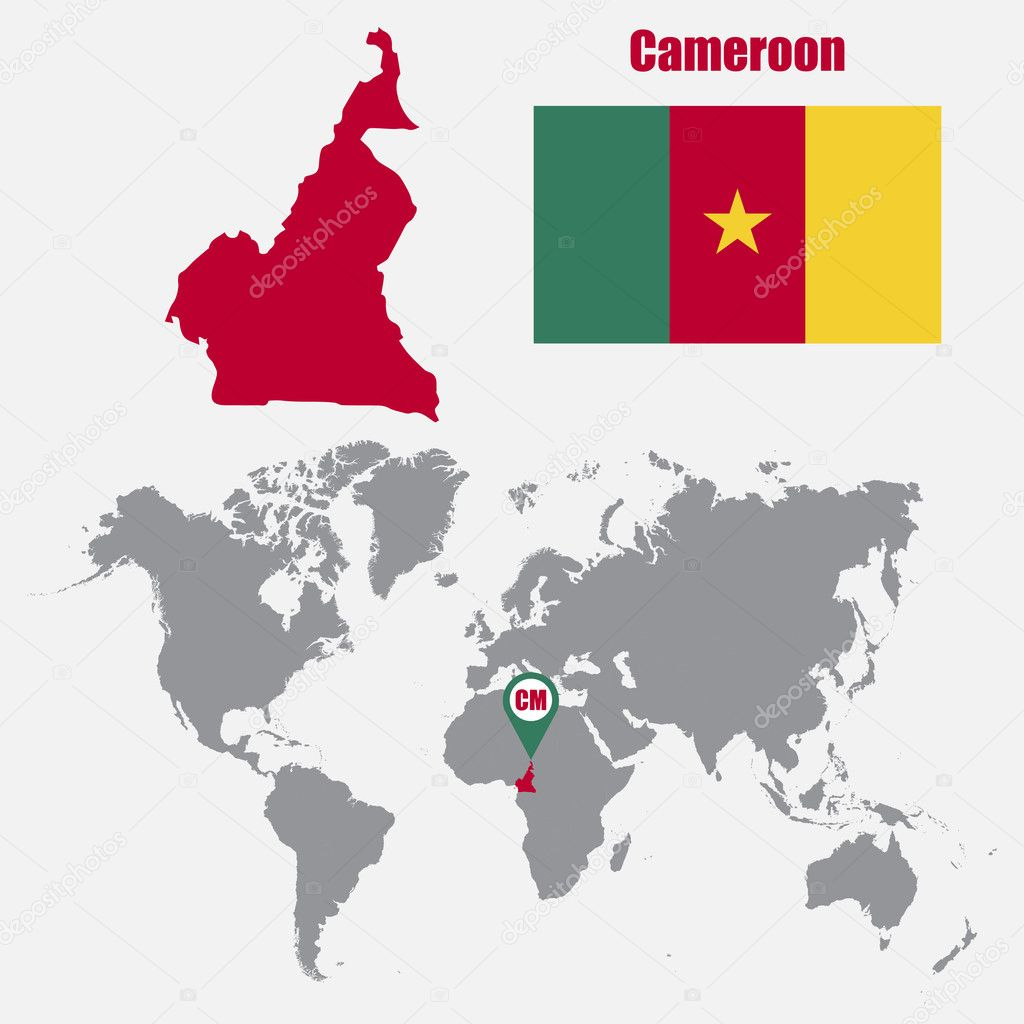 Cameroon map on a world map with flag and map pointer. Vector ...