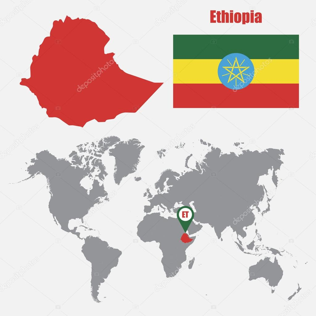 Ethiopia map on a world map with flag and map pointer vector ethiopia map on a world map with flag and map pointer vector illustration vector gumiabroncs Gallery