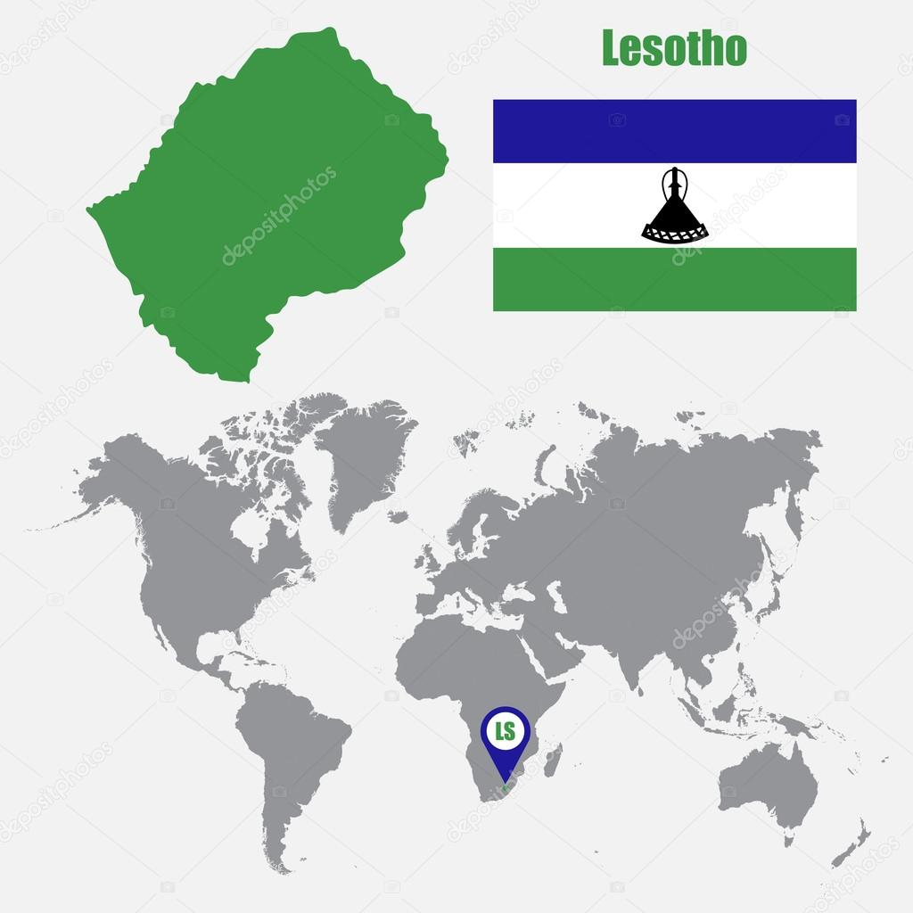 Lesotho map on a world map with flag and map pointer vector lesotho map on a world map with flag and map pointer vector illustration vector de stas11 gumiabroncs Images