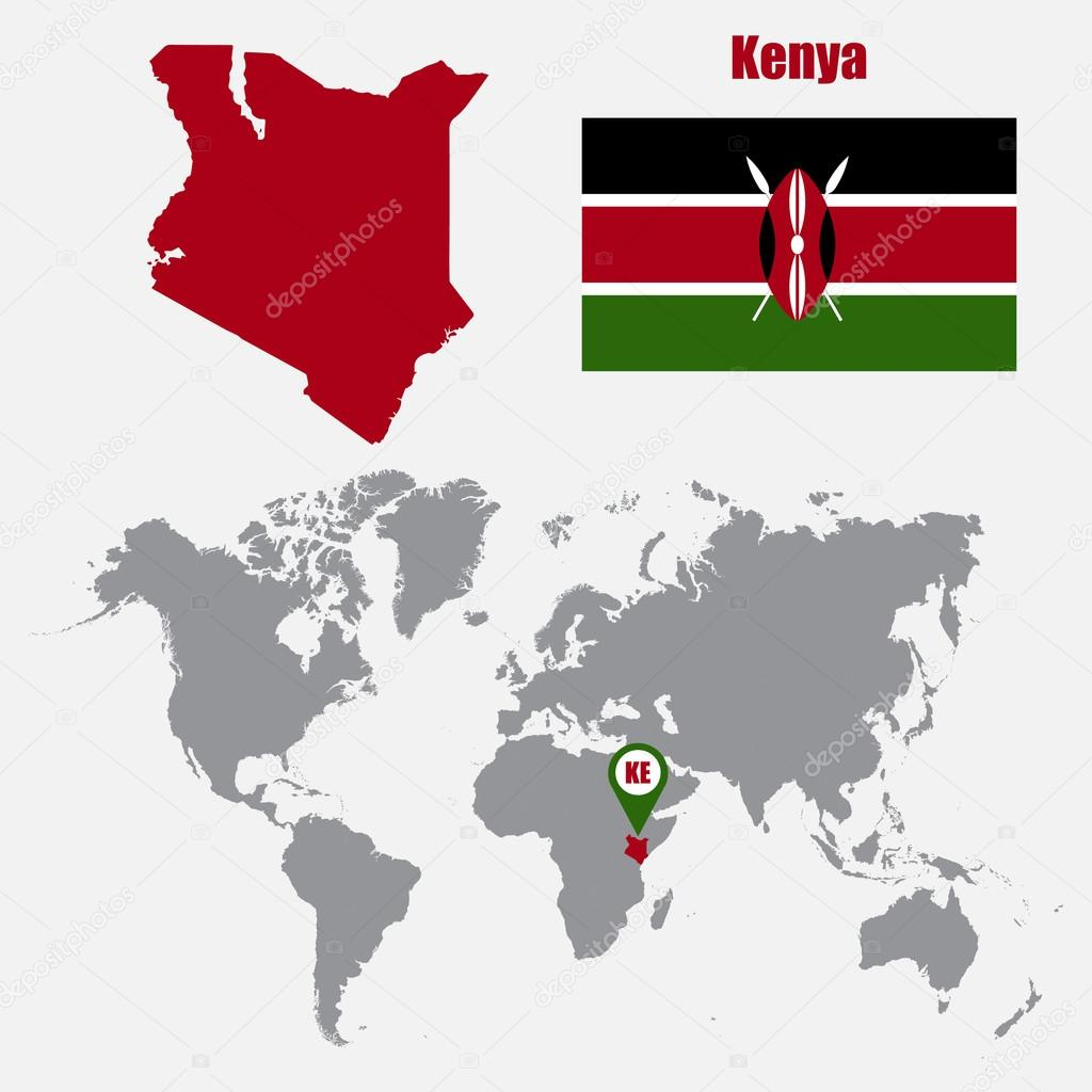 Kenya Map On A World Map With Flag And Map Pointer Vector