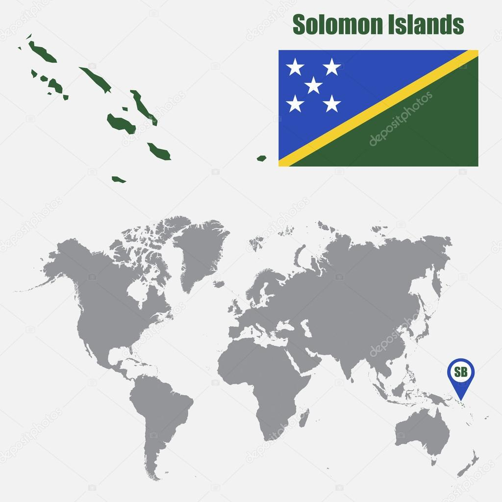 Solomon Islands World Map.Solomon Islands Map On A World Map With Flag And Map Pointer Vector