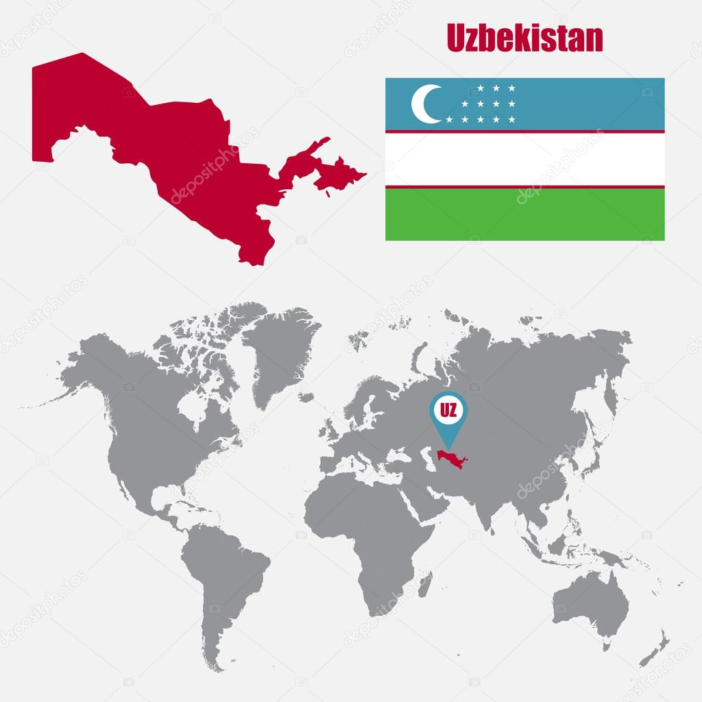 Uzbekistan map on a world map with flag and map pointer vector uzbekistan map on a world map with flag and map pointer vector illustration vector gumiabroncs Images