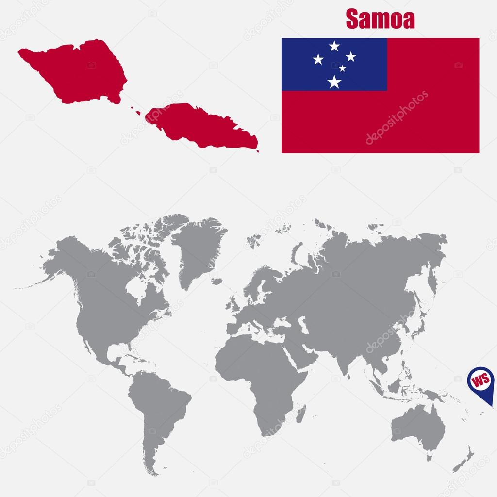 Samoa map on a world map with flag and map pointer. Vector ... on samoa and guam on map, nile river on world map, aegean sea on world map, samoa city, samoa animals, borneo on world map, samoan islands world map, persian gulf on world map, niger river on world map, cayman islands on world map, midway island on world map, yellow river on world map, jarvis island on world map, samoa on a world map, samoa capital, boston location map, honshu on world map, amazon river on world map, lake superior on world map, samoa on the map,