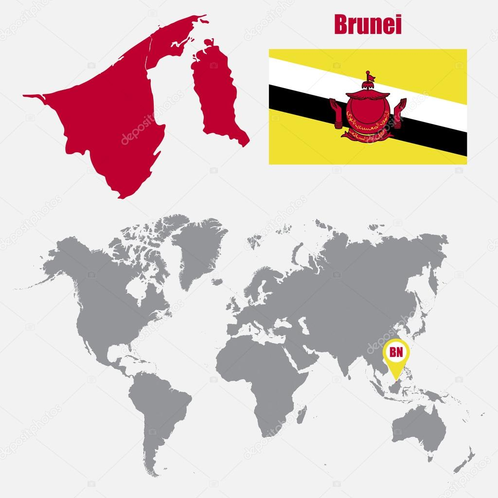 Brunei map on a world map with flag and map pointer vector brunei map on a world map with flag and map pointer vector illustration vector de stas11 gumiabroncs