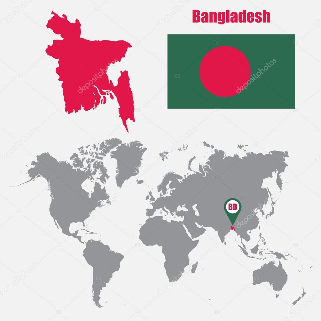 Bangladesh map on a world map with flag and map pointer. Vector ...