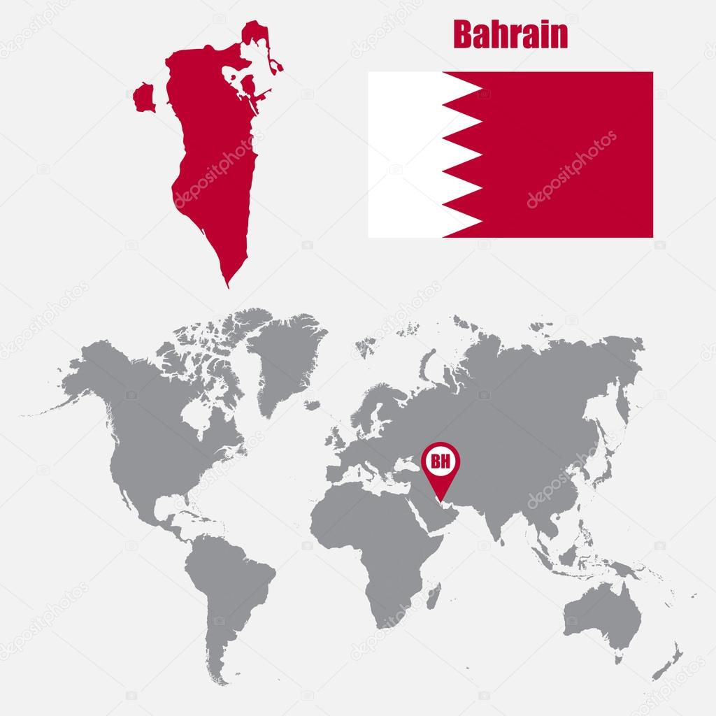 Bahrain On A World Map.Bahrain Map On A World Map With Flag And Map Pointer Vector