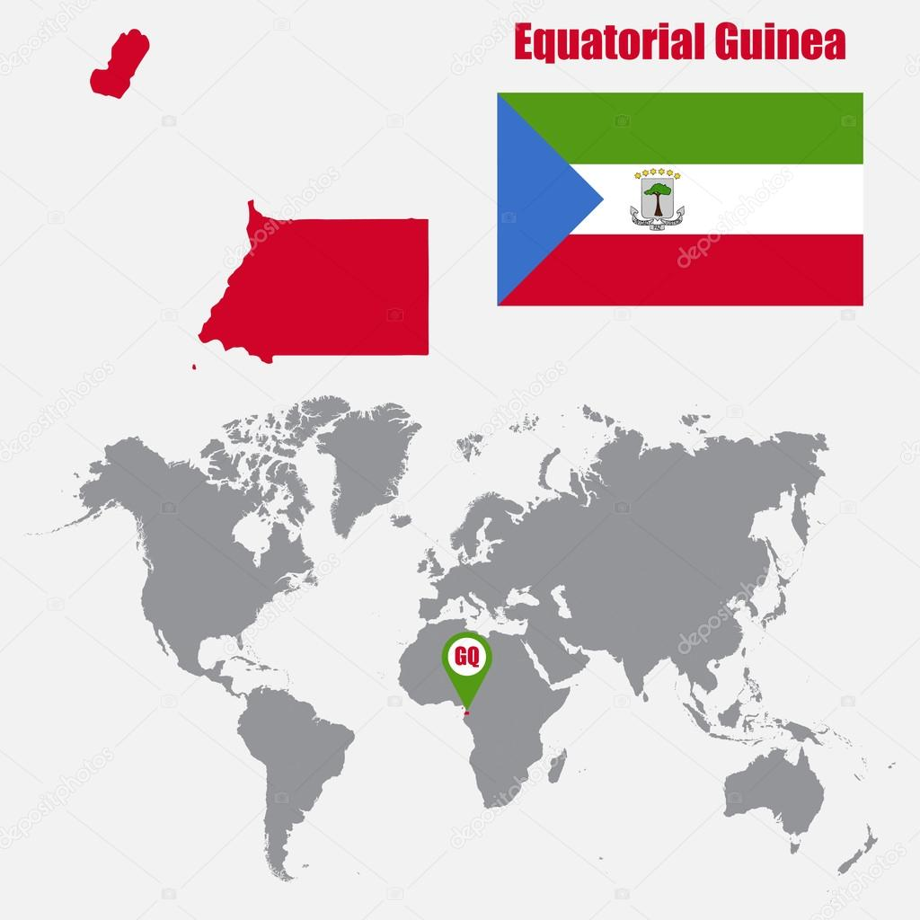 Equatorial Guinea map on a world map with flag and map pointer ...