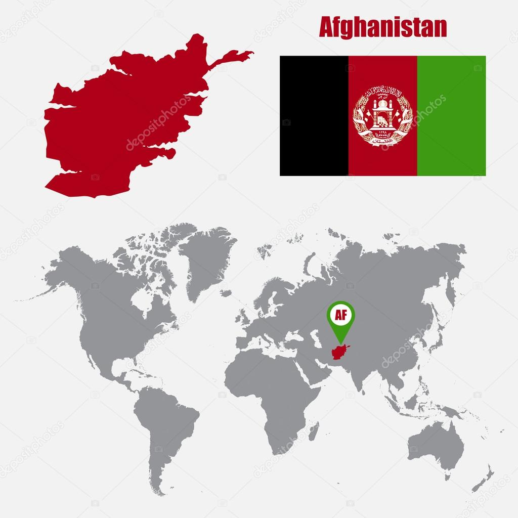 Afghanistan map on a world map with flag and map pointer. Vector ...