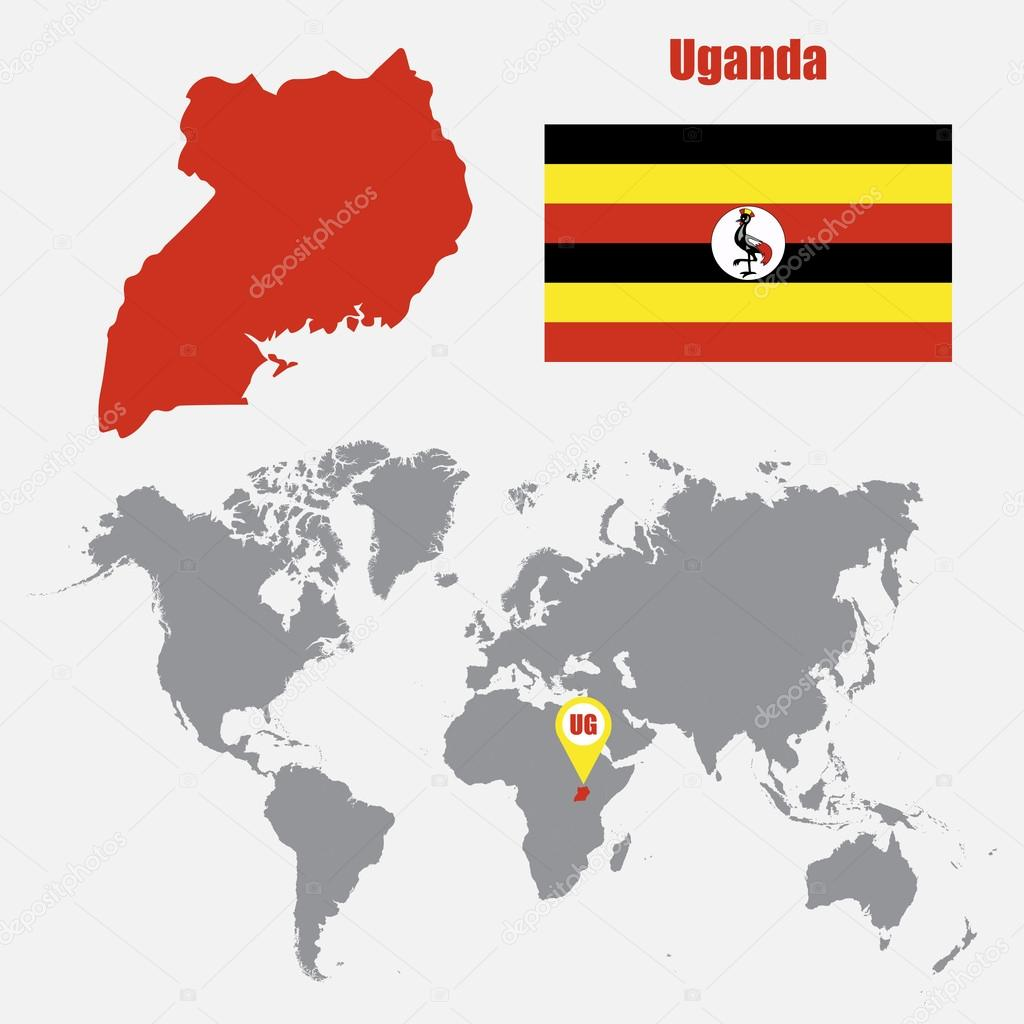 Uganda map on a world map with flag and map pointer. Vector ...