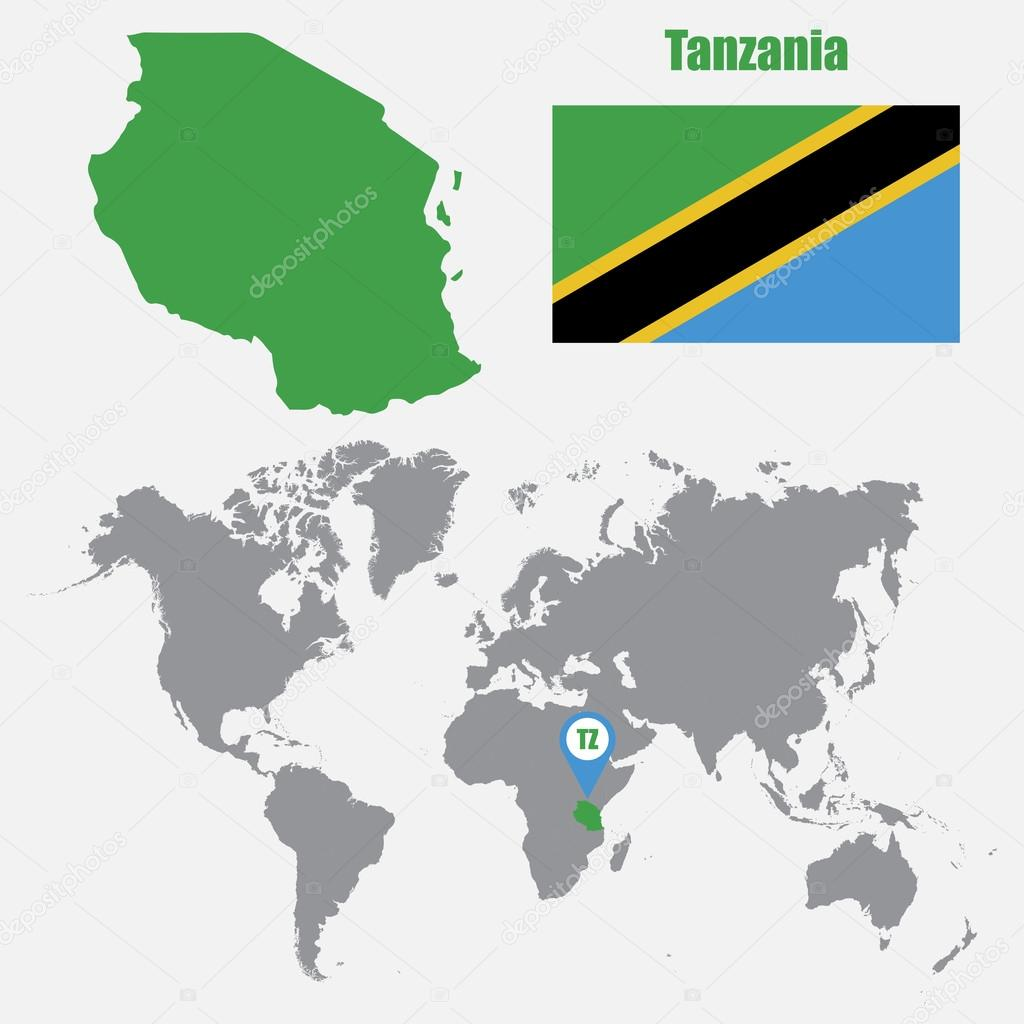Tanzania Map On A World Map With Flag And Map Pointer Vector - Tanzania map download