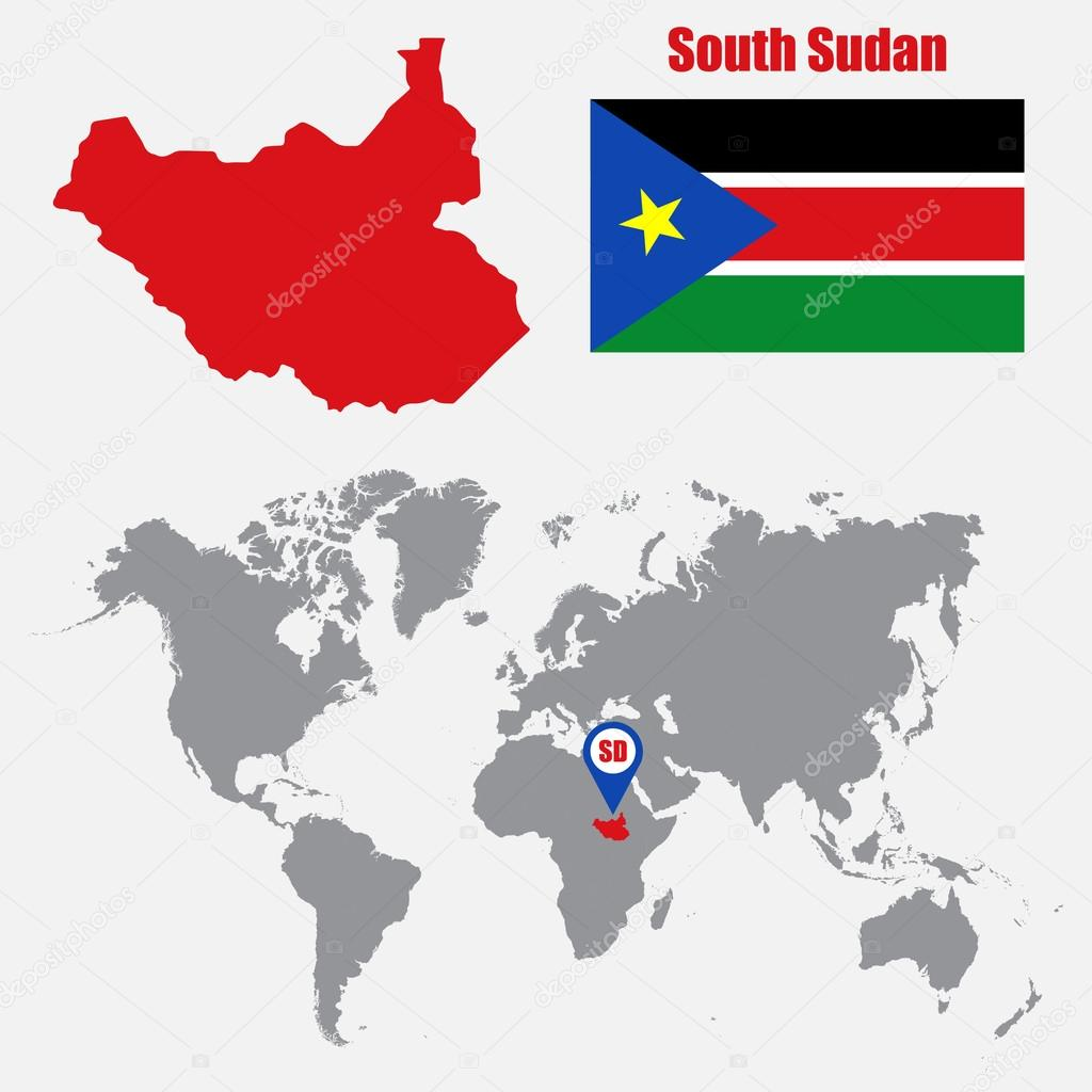 South Sudan map on a world map with flag and map pointer. Vector ...