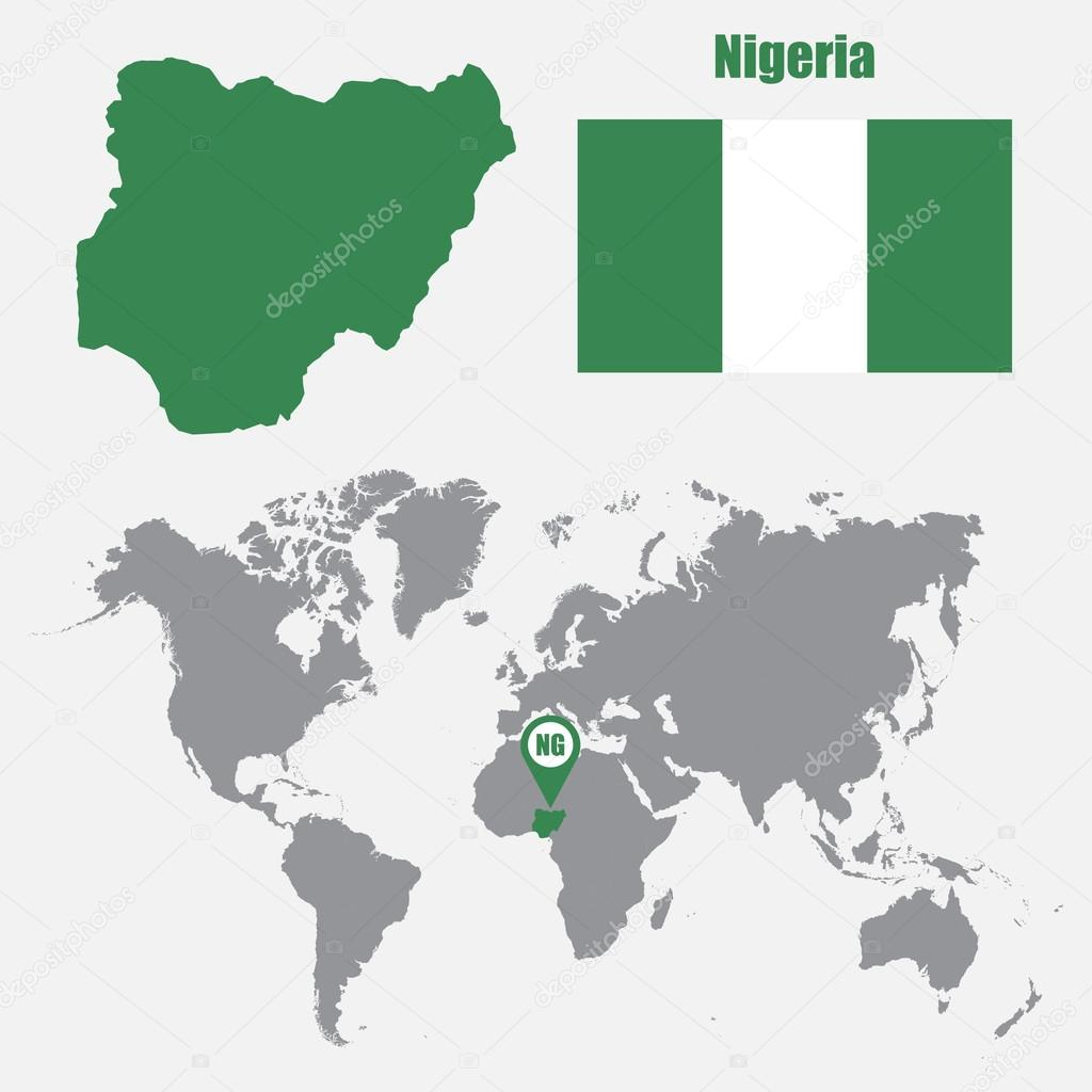 Nigeria Map On A World Map With Flag And Map Pointer Vector