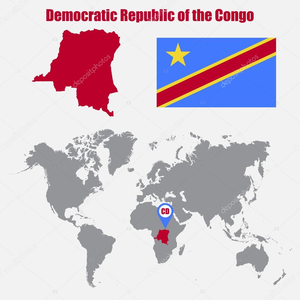 Democratic Republic Of The Congo Map On A World Map With Flag And